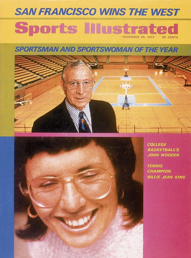 Ucla Coach John Wooden And Billie Jean King, 1972 Sportsman Sports Illustrated Cover Photograph by Sports Illustrated