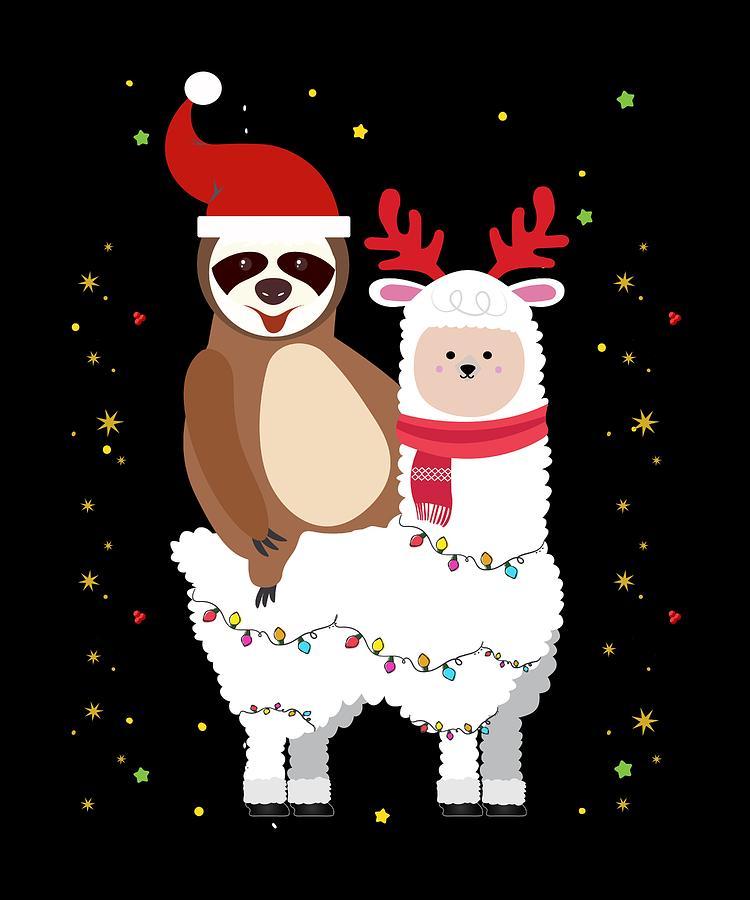 Llama Christmas.Ugly Sweater Merry Sloth Llama Christmas