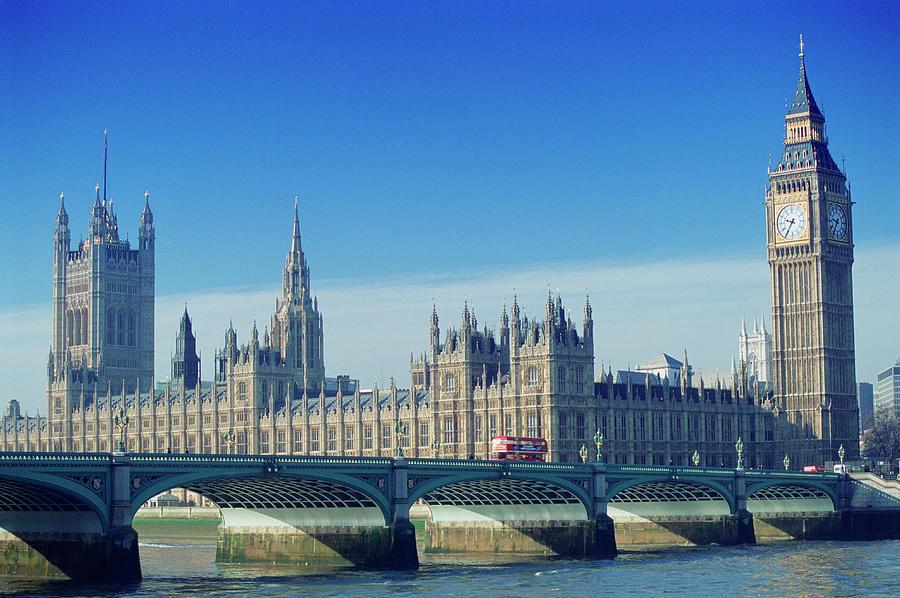 Uk, England, London, Big Bena Nd Houses Photograph by Peter Adams