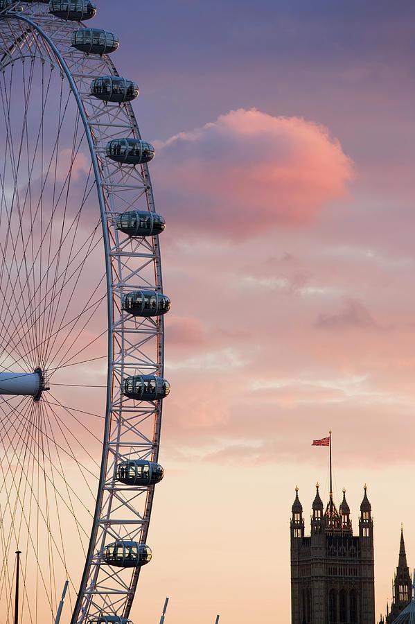 Uk, London, London Eye, Sunset Photograph by Travelpix Ltd
