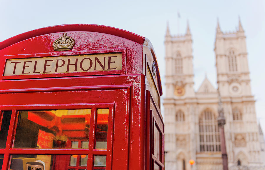 Uk, London, Phone Booth With Photograph by Tetra Images