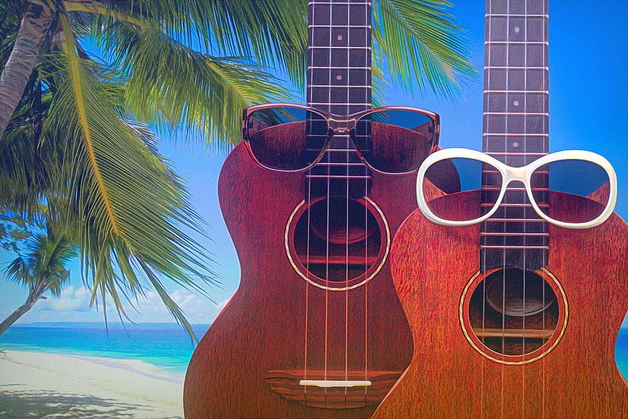 Ukes on the Beach by Tom Mc Nemar