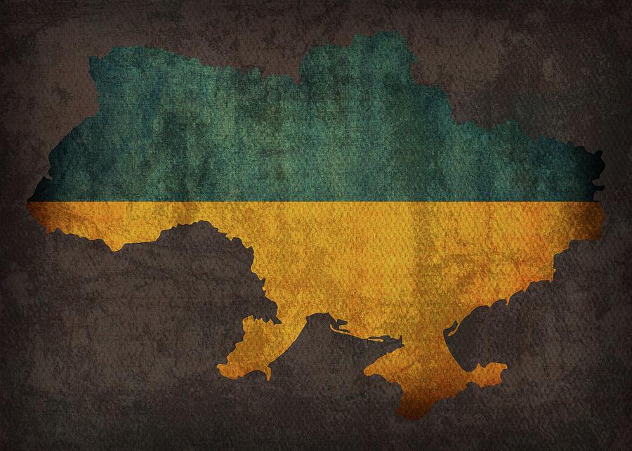 Ukraine Mixed Media - Ukraine Country Flag Map by Design Turnpike