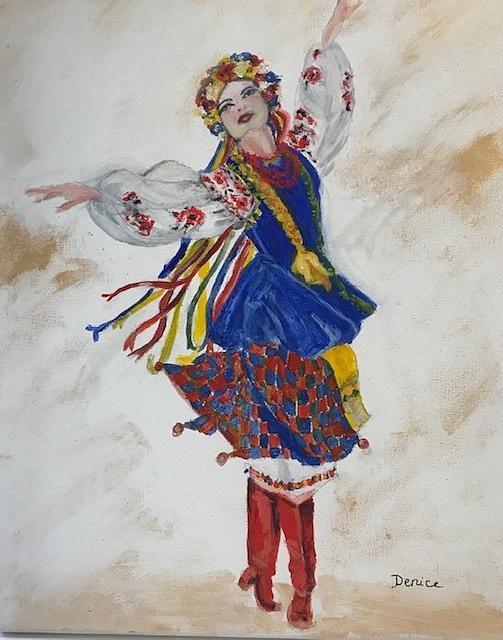 Oregon Painting - Ukrainian Girl Dancer by Denice Palanuk Wilson
