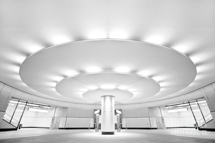 Hall Photograph - Ultra Modern Black And White Public by Telesniuk