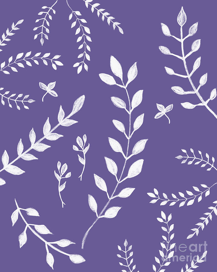 Ultra Violet Leaves Pattern 2 Drawing Decor Art Drawing By Anitas And Bellas Art