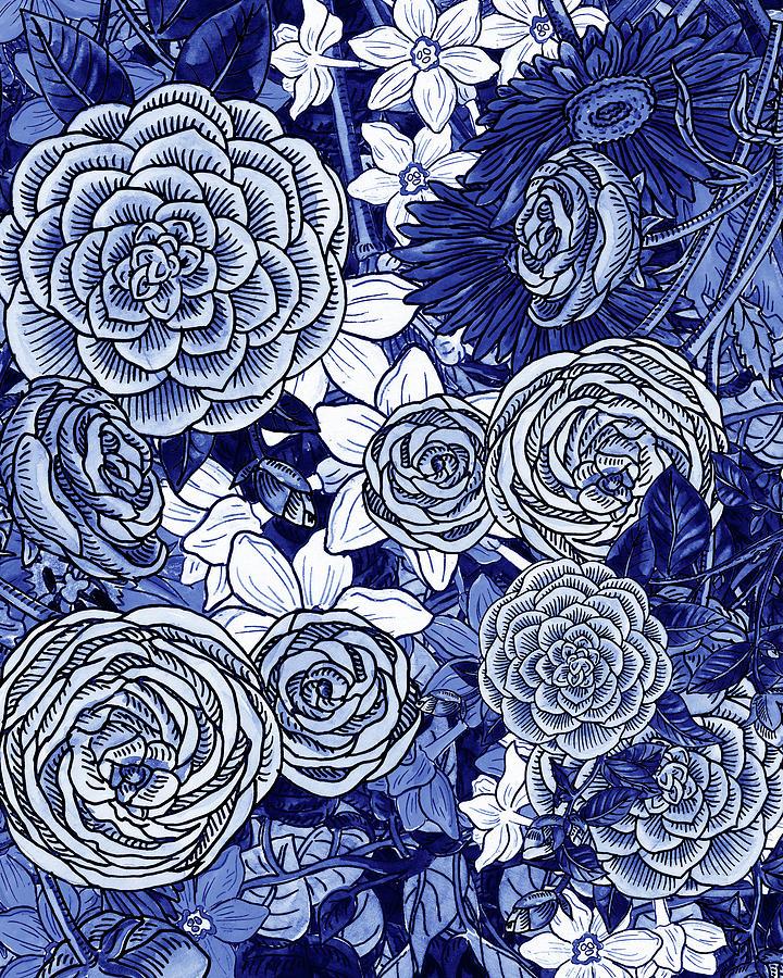 Ultramarine Blue Watercolor Botanical Flowers Garden Pattern IV by Irina Sztukowski