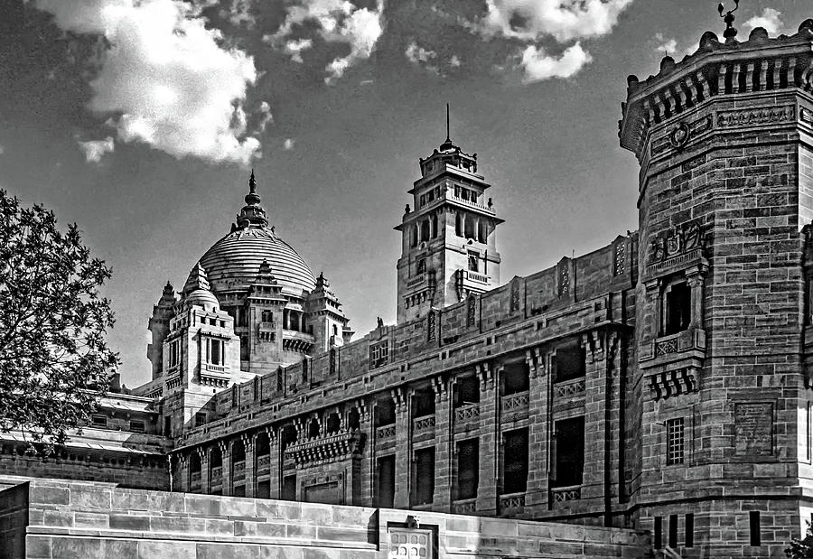 Umaid Bhawan Palace - The West Wing Bw Photograph