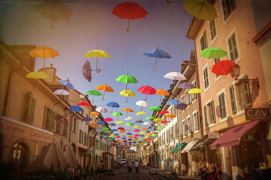 Geneva Photograph - Umbrella Street Carouge Geneva Switzerland by Carol Japp