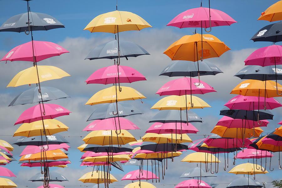 Umbrella Photograph - Umbrellas, Downtown Wausau by Callen Harty