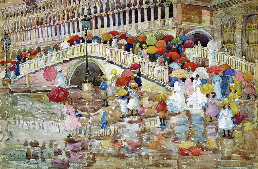 Usa Painting - Umbrellas In The Rain - Digital Remastered Edition by Maurice Brazil Prendergast