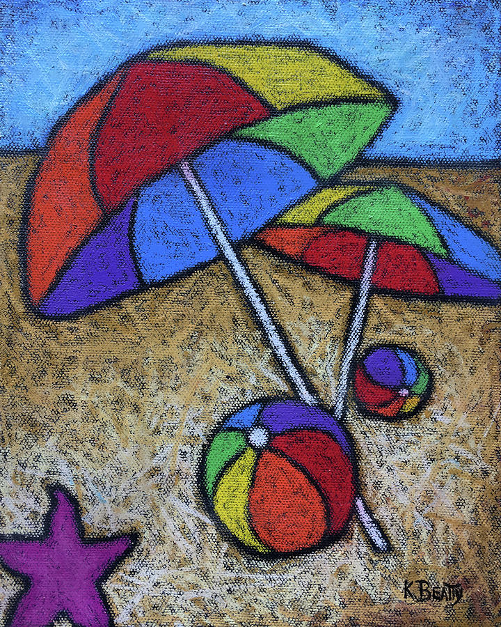 Umbrellas on the Beach by Karla Beatty