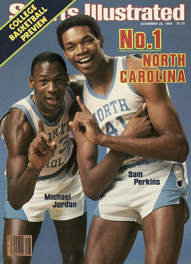 1980-1989 Photograph - Unc Michael Jordan And Sam Perkins Sports Illustrated Cover by Sports Illustrated