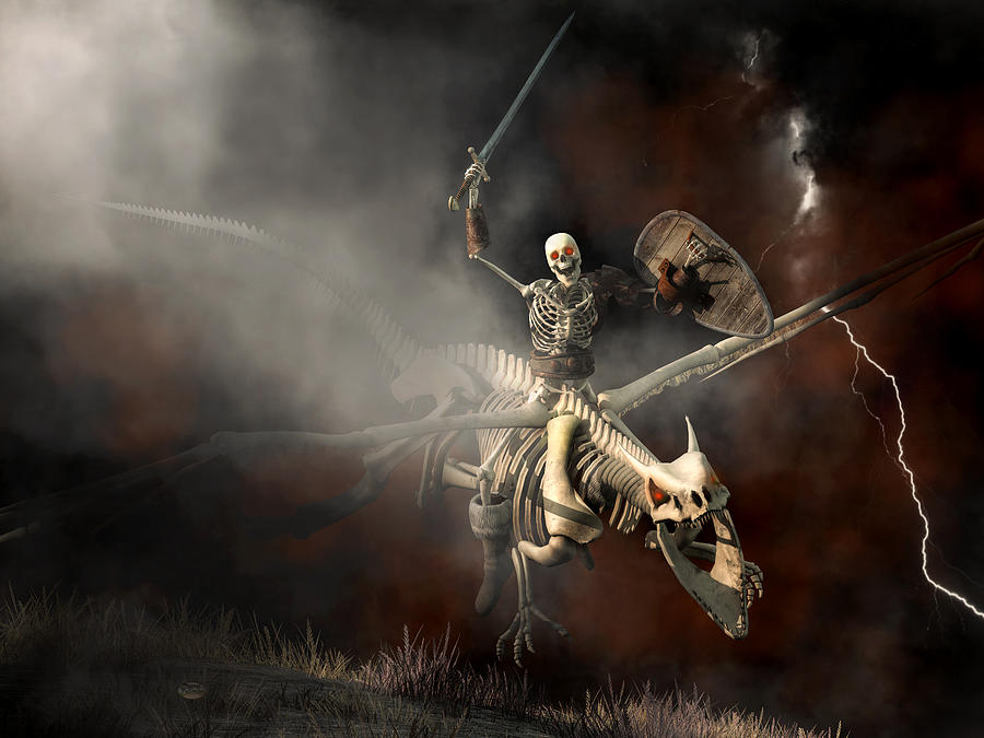 Skeleton Digital Art - Undead Dragon And Skeleton Rider by Daniel Eskridge