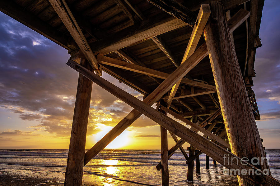 Under Cherry Grove Pier Sunrise by David Smith