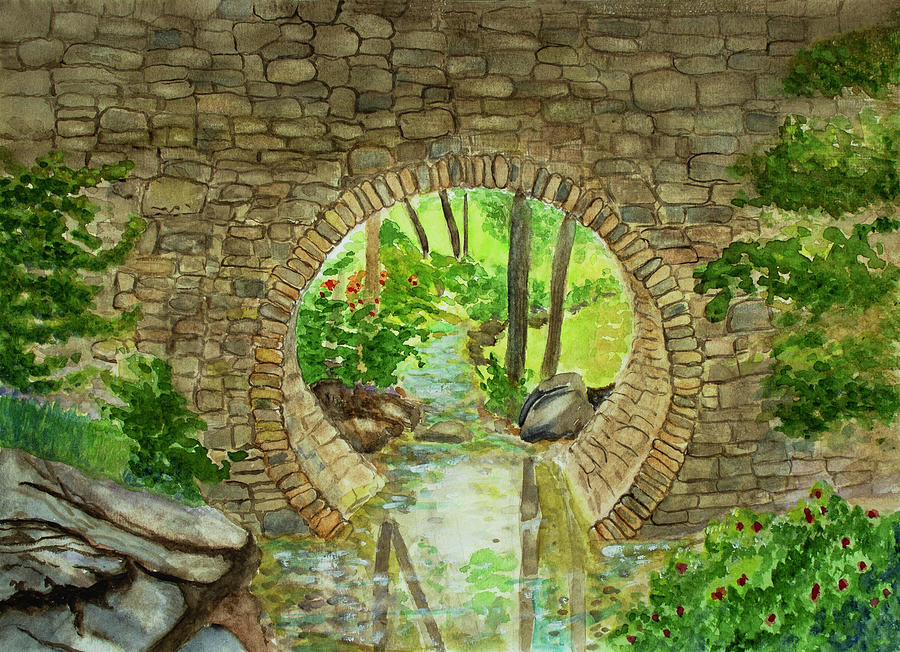 Nature Painting - Under The Brisge by Dorothy Riley