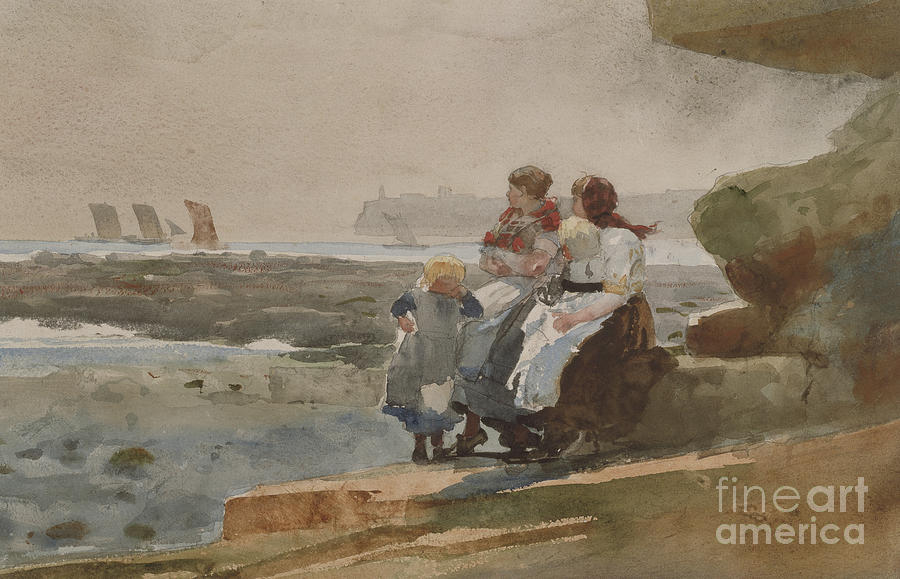 Winslow Homer Painting - Under The Cliff, Cullercoats , 1881 by Winslow Homer