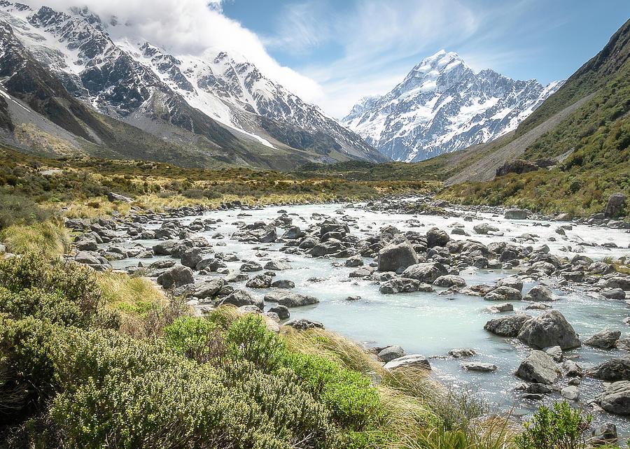 Alpine Valley With View On New Zealands Aoraki / Mt Cook by Peter Kolejak