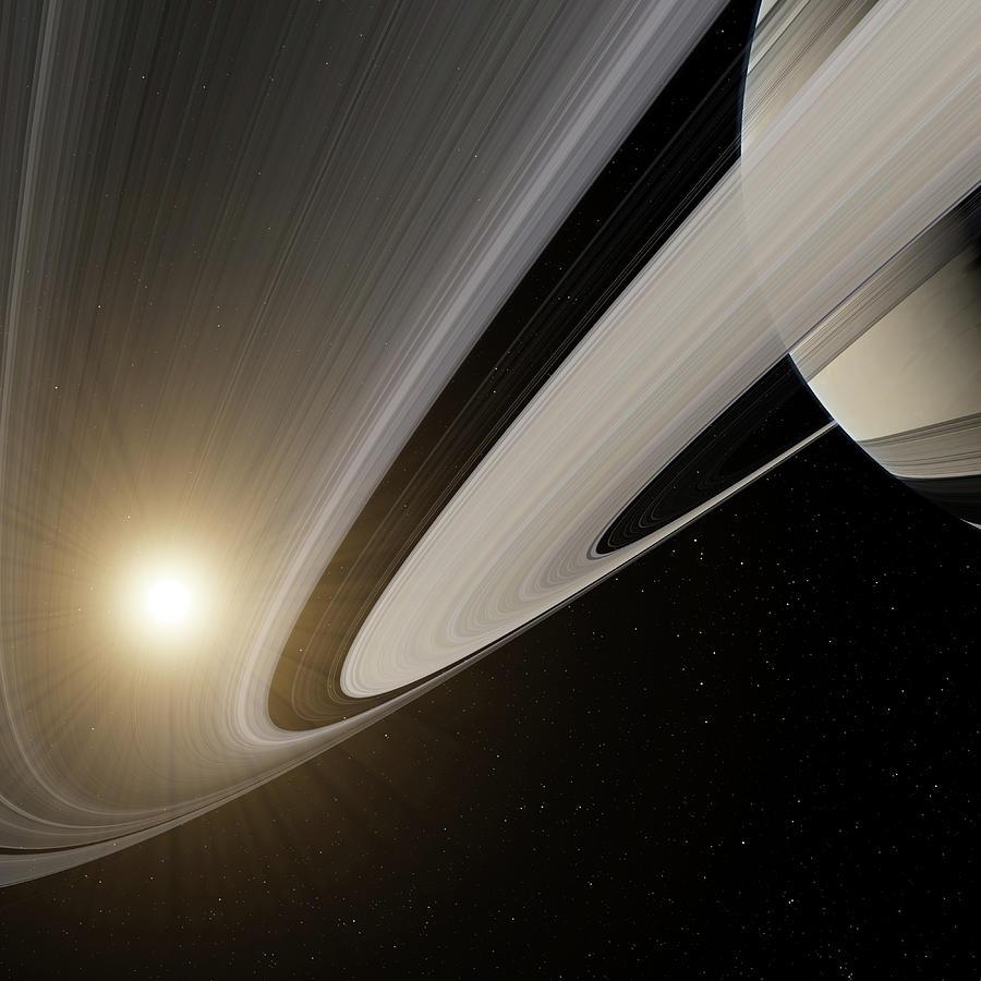 Saturn Digital Art - Under The Rings Of Saturn by Nick Stevens