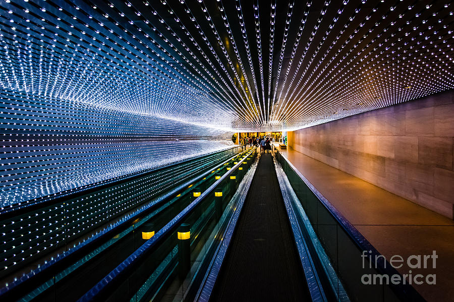 Corridor Photograph - Underground Moving Walkway At The by Jon Bilous