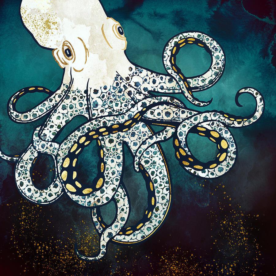Octopus Digital Art - Underwater Dream VII by Spacefrog Designs