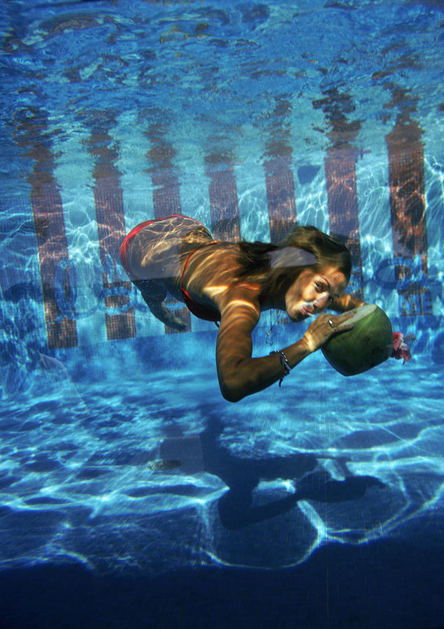 Underwater Photograph - Underwater Drink by Slim Aarons