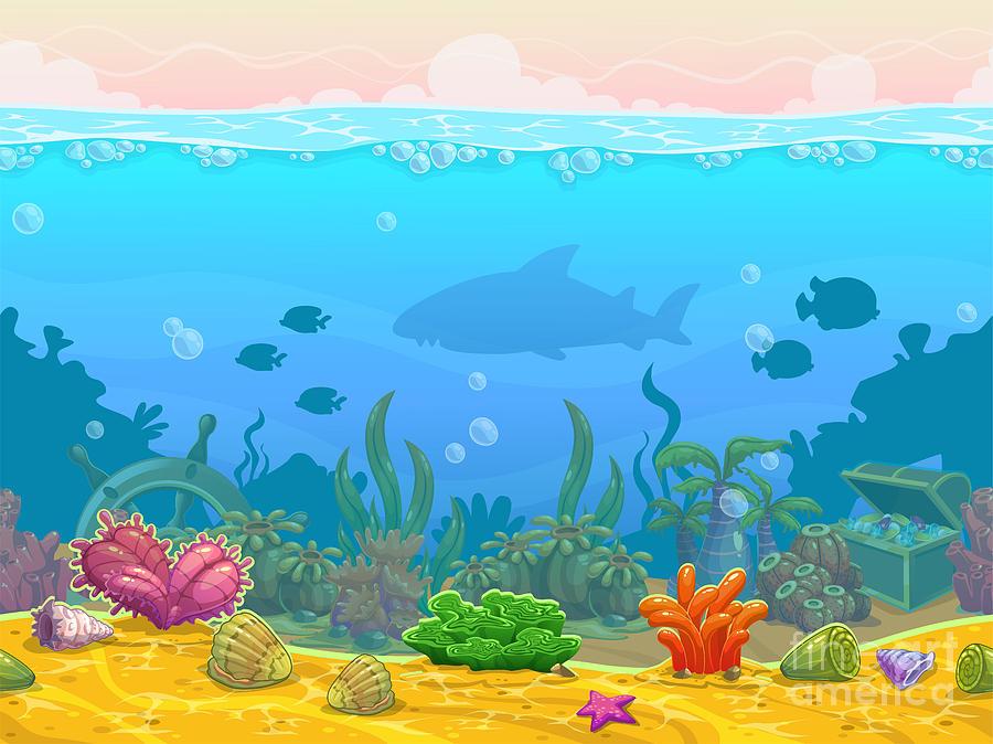 Play Digital Art - Underwater Seamless Landscape by Lilu330