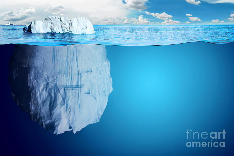 Symbol Digital Art - Underwater View Of Iceberg With by Niyazz