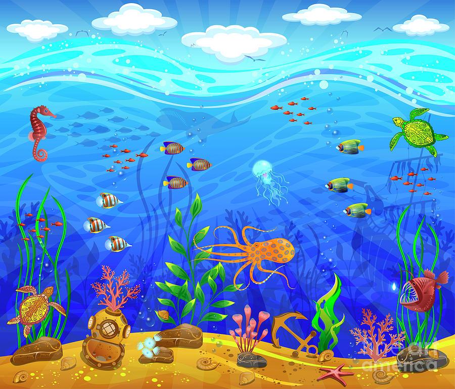 Underwater world clipart - Clipground  Underwater World Drawings