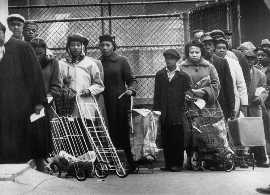Unemployed People Lined Up For Surplus F Photograph by Gordon Parks