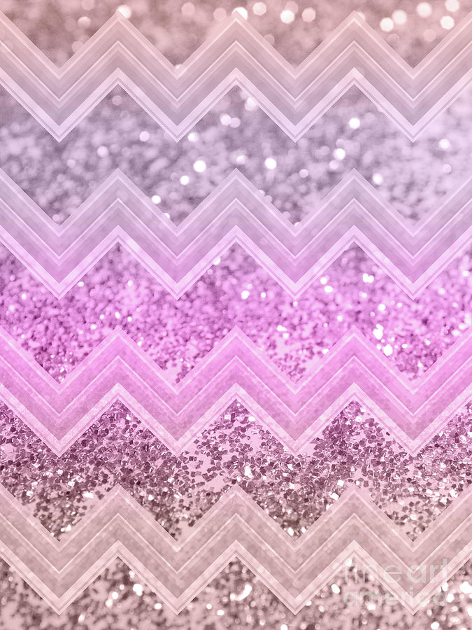 Color Mixed Media - Unicorn Glitter Chevron #2 #shiny #decor #art by Anitas and Bellas Art