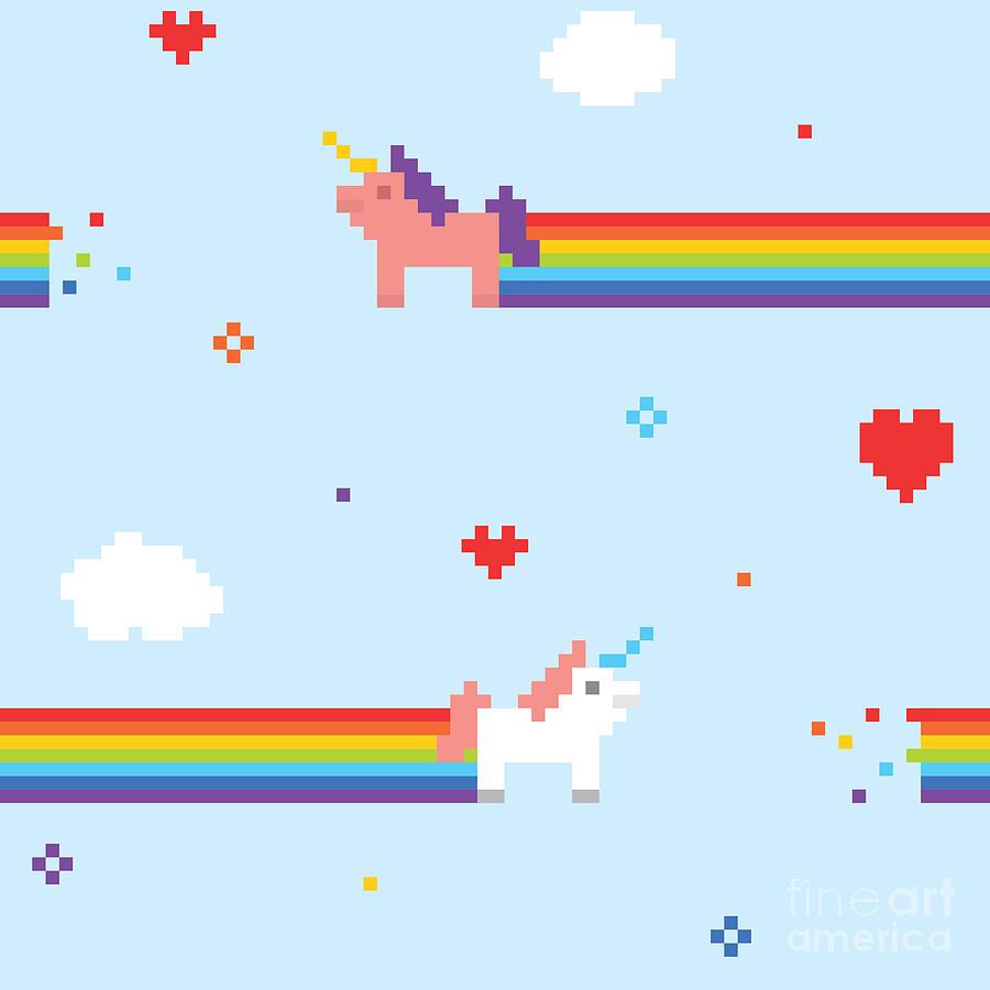 Love Digital Art - Unicorn Seamless Vector Pattern by Dmitriylo