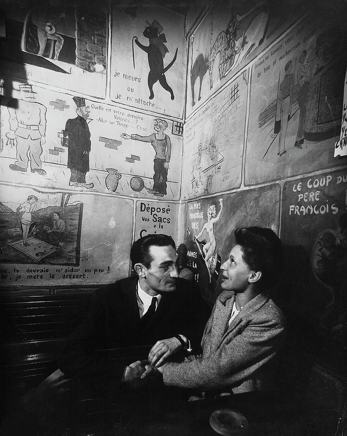 Unident. French Couple At Cafe Tango Du Photograph by Gjon Mili