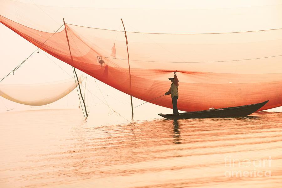 Sparkle Photograph - Unidentified Fisherman Checks His Nets by Jimmy Tran