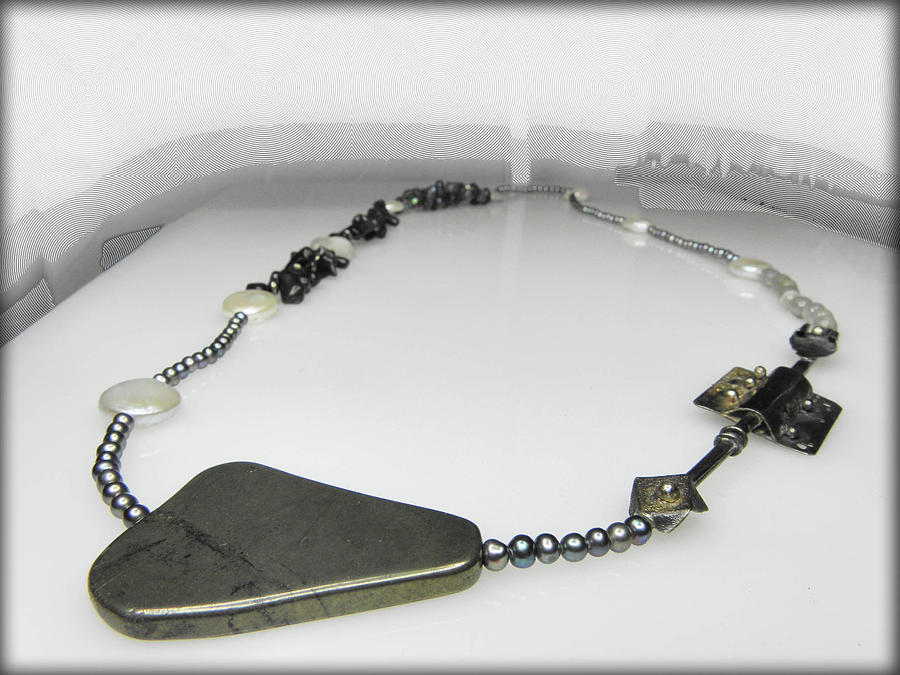 Necklace Jewelry - Unique Free Form Long Necklace With Silver Ornament by Vesna Kolobaric