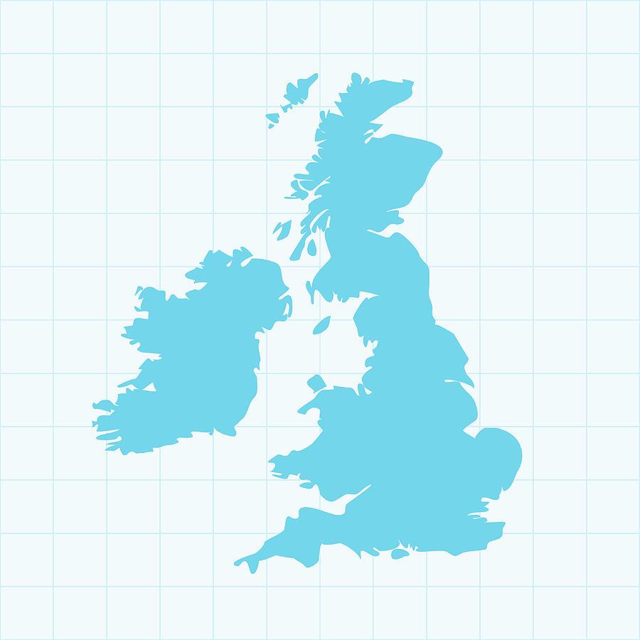 United Kingdom Map On Grid On Blue Digital Art by Iconeer