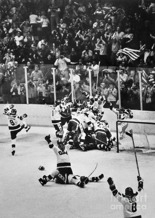 United States Hockey Team Celebrates Photograph by Bettmann