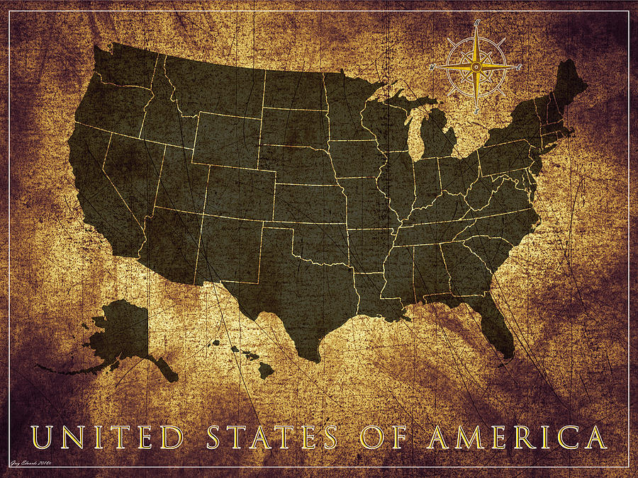 United States Of America Vintage Map Style 11 on united states map poster, united states map color, united states map 1860,