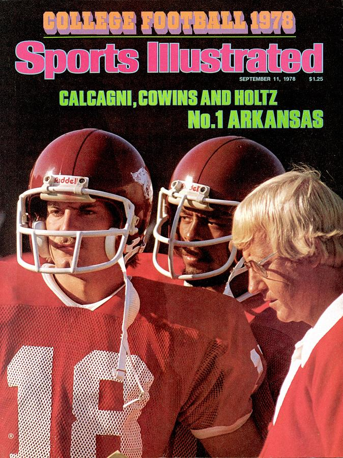 University Of Arkansas Coach Lou Holtz, Qb Ron Calcagni Sports Illustrated Cover Photograph by Sports Illustrated