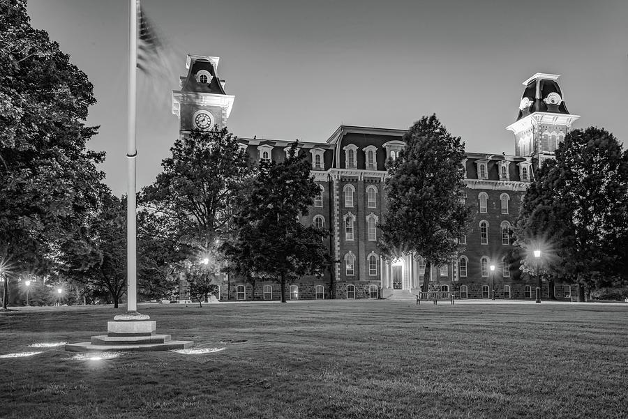 U Of Arkansas >> University Of Arkansas Old Main Dusk Light Black And White
