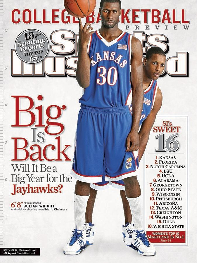 University Of Kansas Julian Wright And Mario Chalmers Sports Illustrated Cover Photograph by Sports Illustrated