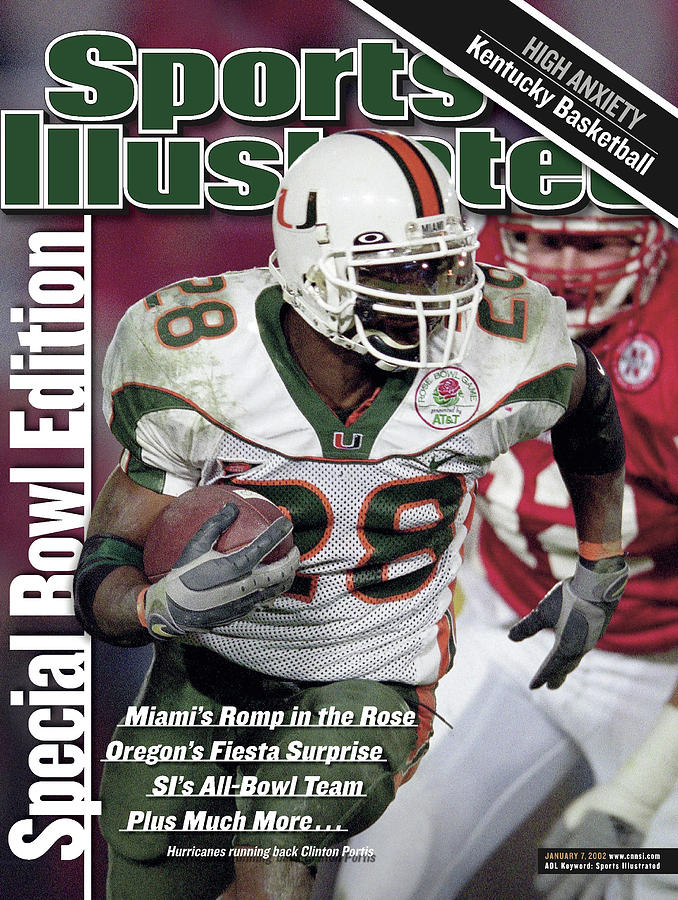 University Of Miami Clinton Portis, 2002 Rose Bowl Sports Illustrated Cover Photograph by Sports Illustrated