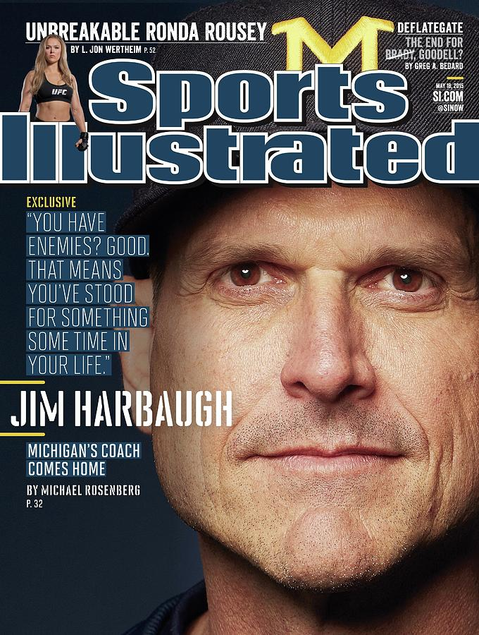 University Of Michigan Coach Jim Harbaugh Sports Illustrated Cover Photograph by Sports Illustrated