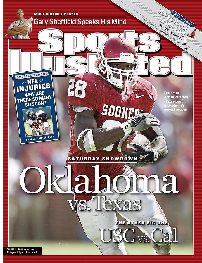 University Of Oklahoma Adrian Peterson Sports Illustrated Cover Photograph by Sports Illustrated