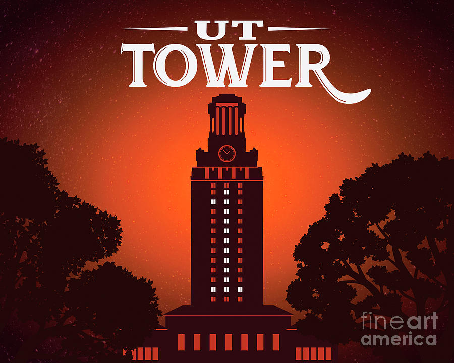 University of Texas Tower lit with No. 1 in celebration of a UT  by Herronstock Prints