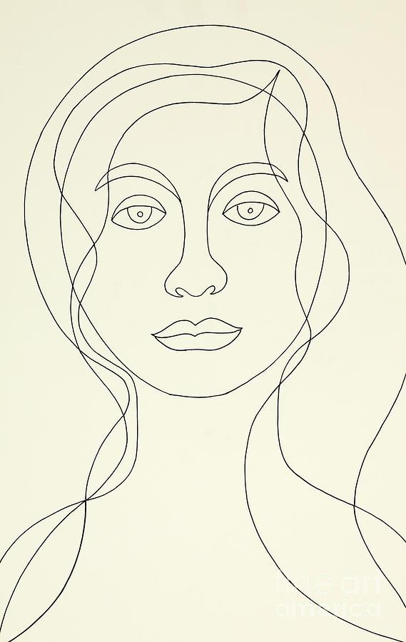 Woman Painting - Untitled, Female Portrait by Manuel Bennett