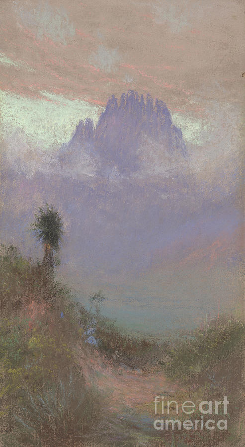 Mountainous Painting - Untitled Mountain Landscape, 1920, Pastel by Charles Franklin Reaugh