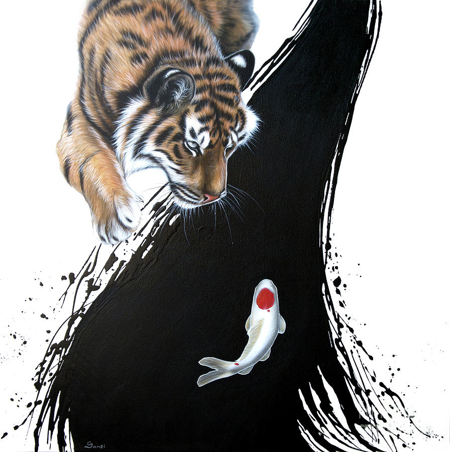Untitled tiger with koi by Sandi Baker