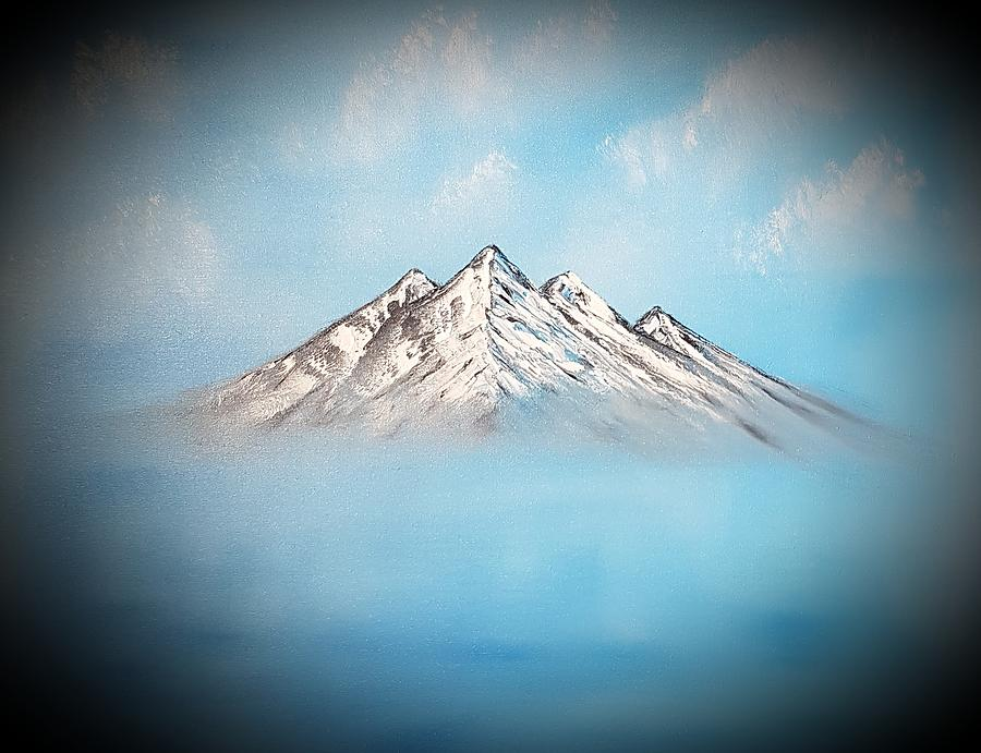 Mountainous Painting - Up Above So High Dark by Angela Whitehouse