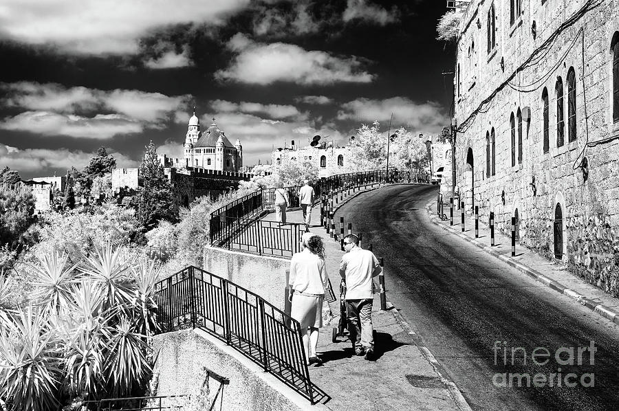 Up Ma'ale Hashalom Street in Jerusalem Infrared by John Rizzuto